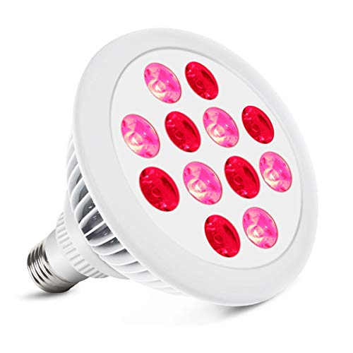 Great Features Of Red Light Therapy, LED Red Light Therapy Bulb Remote Control Therapy Lights 24W LE...