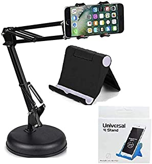 Techtest Mobile Holder Stand for Video Recording for TIK Tok Phones Camera Mic Cell, Selfie Shooting Tiktok Microphone Studio Condenser Arm Desktop Table & Multi Angle Phone Mobiles Stand for Desk