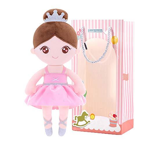 Gloveleya Muñeca de Trapo Muñecas Suave Regalos de Niña Muñeco de Peluche para Bebés Rosa 13 Pulgadas con Caja de Regalo para niña