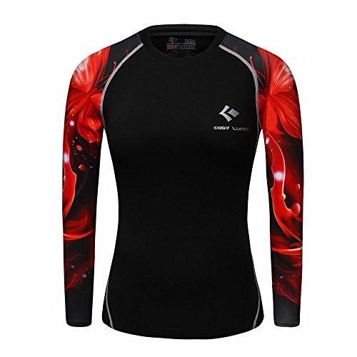 WCT27 3D Druck Frauen Kompression Shirt Top Tight Langarm (M)
