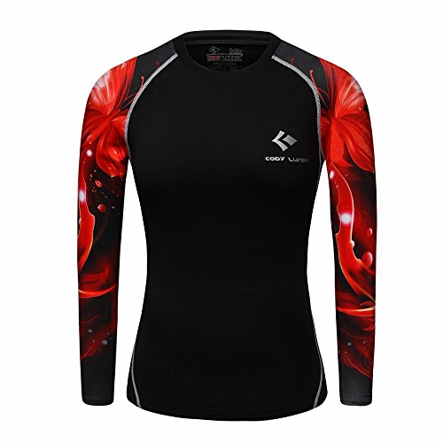 WCT27 3D Druck Frauen Kompression Shirt Top Tight Langarm (L)