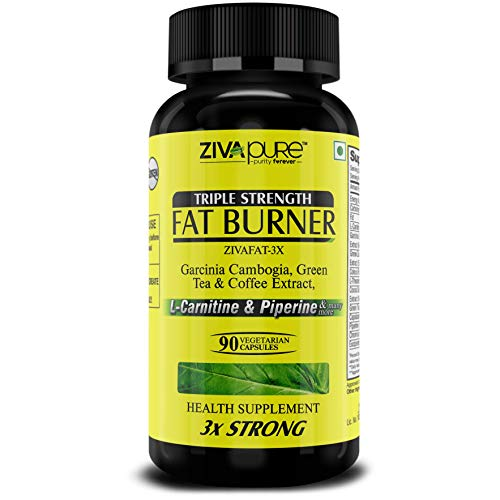 Zivapure Fat Burner & Natural Weight Loss Supplement for Men and Women with L Carnitine , Garcinia Cambogia , Green Tea & Coffee Extract and other 6 Powerful ingredients – 90 Pure Veg Capsules