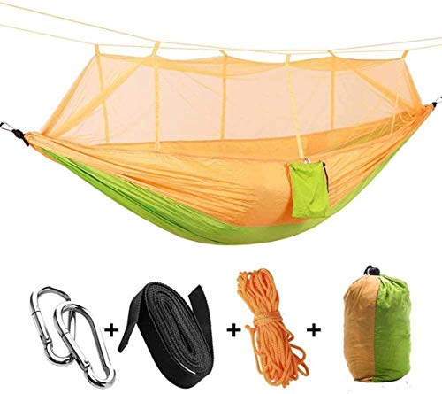 Zixin Mosquito Net Hammock Outdoor Single Double Parachute Cloth Light Mosquito Hammock Camping Aerial Tent,Yellow (Color : Yellow)