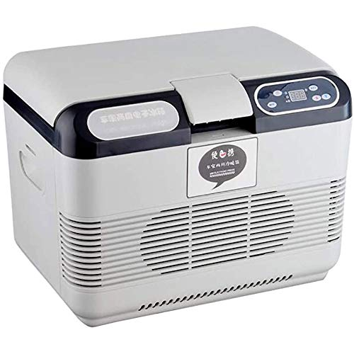 QJY elektrische koelkast, koeler, 15 l, draagbaar, dubbel gebruiksdoel, mini-verwarming, koelbox, vriezer, gebruik voor de reis van levensmiddelen in landelijke stijl