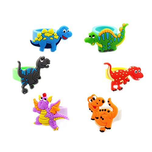 Spielzeug Bunte Dinosaurier Ring, 6 Teile/Satz Niedliche Cartoon Dinosaurier PVC Ringe Weiche PVC Fingerring Kind Kind Geschenk Birthday Party Gefälligkeiten
