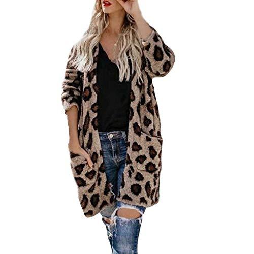 HUI.HUI Mode Femmes Mode sans Col De Poche Imprimé LéOpard Imprimé SurvêTement Cardigans