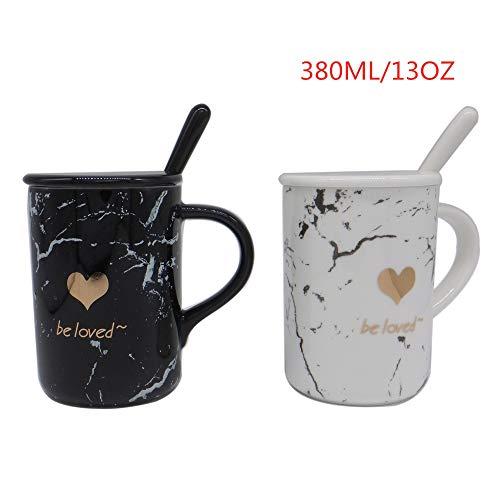SidiOutil 2 Marmor Teetassen, 13 OZ / 380 ML Keramik Kaffeetassen Sets mit Löffel und Deckel, Marmorkaffeetrinkbecher Tassen für Büro & Geschenk für Paare Hochzeitsbraut Jubiläum Verheiratet