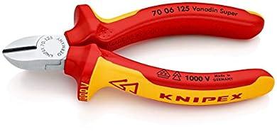 Foto di KNIPEX 70 06 125 Tronchese laterale per meccanica cromata isolati con manici rivestiti in materiale bicomponente, collaudati VDE 125 mm