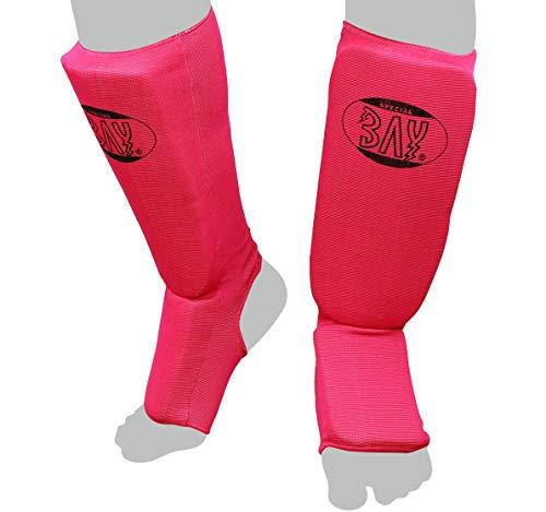 """BAY® """"MT Cotton PINK XS Spann-Schienbeinschutz Baumwolle Elastik Stoff, Muay Thai, TKD, Thaiboxen pink/rosa, Größe XS"""