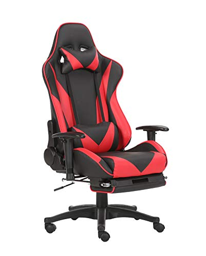 Brage Living Swivel Gaming Chair Ergonomic High-Back Racing Style PU Leather Office Chair with Headrest and Lumbar Support and Adjustable Armrest and Retractable Footrest BR1861002 - (Black/Red) chair gaming red