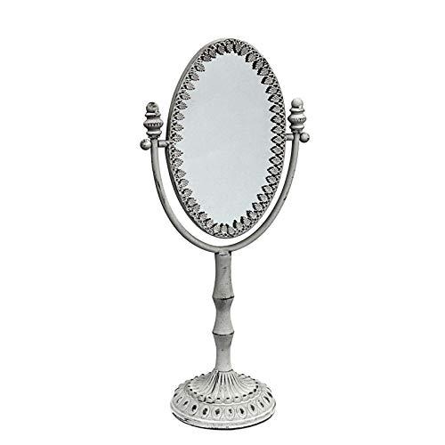 Gerry Vintage Tischspiegel groß Metall weiß Shabby H 53 cm
