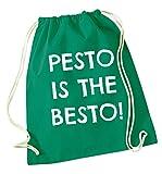 flox creative - borsa con chiusura a cordoncino, motivo: pesto is the besto, verde.