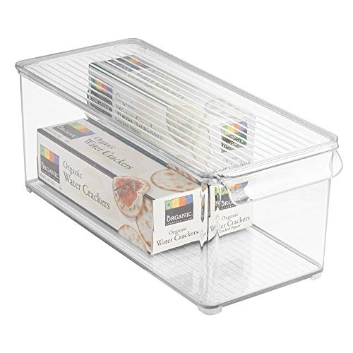 "iDesign Plastic Refrigerator and Freezer Storage Bin with Lid, BPA-Free Organizer for Kitchen, Garage, Basement, 6"" x 6"" x 14.5"", Clear"
