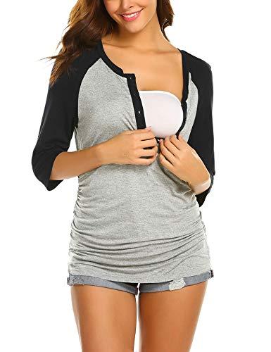 Stillshirt Umstandsmode Damen Stilltop Maternity Shirt Schwanger Bluse Stillpyjama Stillnachthemd -L