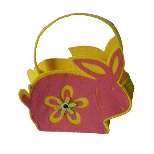 2 stuks paashaas-snoepzakje met handgrepen, herbruikbare vilt-haas-mand-ei-boodschappentas, cadeau-cadeau-cadeaus voor kinderen meisjes