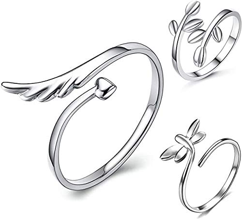 S925 Sterling Silver 3pcs Open Rings Set Finger Ring Joint Ring Toe Ring Beach Jewelry Gifts for Women Girls Adjustable