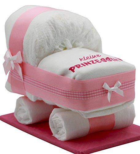 Kleine Windeltorte/Windelwagen rosa für Mädchen - mit Lätzchen