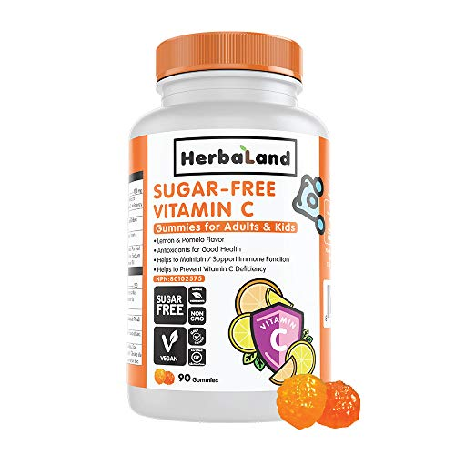 Vegan Sugar-Free Vitamin C Supplement for Adults and Kids by Herbaland - Plant-Based Vitamin Gummies to Support Immune Function with Ascorbic Acid - Lemon and Pomelo Flavor 90 Gummies