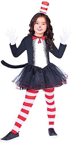 Fancy Me Mädchen Offiziell Dr Seuss Katze im Hut Tutu Rock Kleid Welttag des buches-Tage-Woche TV Buch Film Karneval Tier Kostüm Kleid Outfit 4-12 Jahre - 4-6 Years