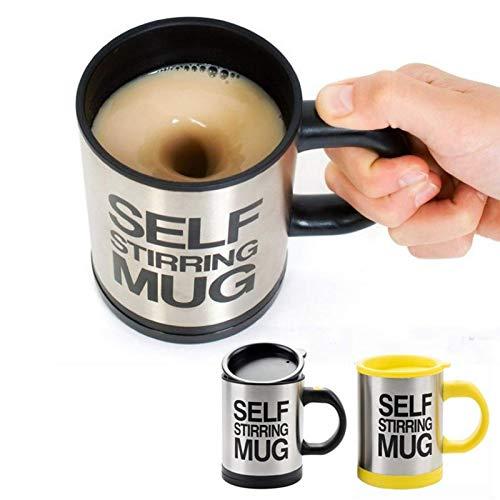 2X Selbstumrührende Tasse, Selbstrührender Kaffeebecher, Selbst mischender Becher mit Deckel 400 ml Für Kaffee Milch Kakao Getränk, schwarz und gelb