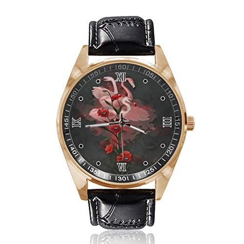 Flamingo Poppy Floral personalizado para hombre reloj para mujer impermeable de acero inoxidable reloj de pulsera de cuarzo con correa de cuero reemplazable