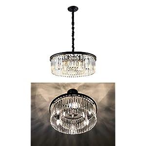 "Deweylaza Modern Crystal Chandelier Lighting, 6-Light W22""x H7"" Semi Flush Mount Crystal Chandelier Pendant Hanging Light Fixture for Dining Room Living Room Kitchen Island Hallway"
