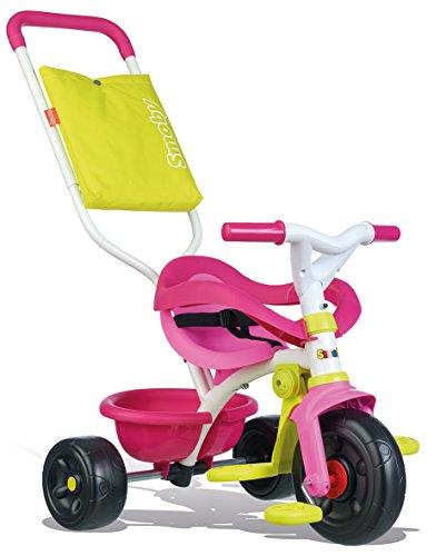 Smoby - Tricycle Be Fun Confort Rose - Vélo Enfant Dès 10 Mois - Evolutif - Canne Parentale avec Sacoche - Arceau de Sécurité - 740406