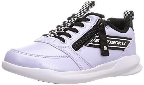 [シュンソク] スニーカー 運動靴 軽量 ファスナー 19~24.5cm 2E キッズ 女の子 LEJ 6980 ラベンダー 19.5 cm 2_e