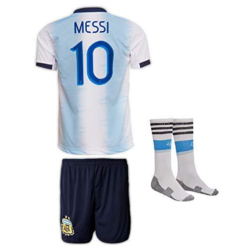 JTex Argentinien 2019-20 Messi, Casa/Lejos, Camiseta de Manga para niños con Pantalones Cortos y Calcetines (Tallas 2-14 años) (140, Casa)