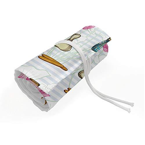 ABAKUHAUS Bloemen Etui met Rolomslag voor Pennen, Kleurrijke Flessen van het parfum, Duurzame & Draagbare Potloodetui, 36 Vakjes, Wit en Multicolor