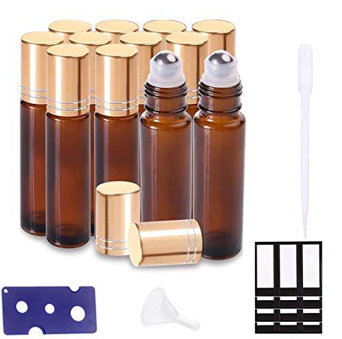 Ätherische Öle Roller Flaschen Braun Bernstein Glasflaschen Edelstahl Roller Bällen 10ml mit für aromaöl und duftöl nachfüllbares 12 Stück (Trichter, Öffner, Etiketten, Plastik-Pipetten)