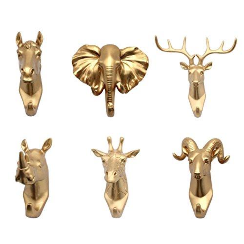 B Blesiya 6pcs Tier Wandhaken Kleiderhaken Handtuchhaken Handtuchhalter Allzweckhaken Gold