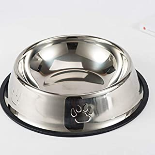 Stainless Steel Pets Feeding Bowl Food Bowl and Water Bowl for Dog and Cat Anti-fall Anti-bite Dog Cat Bowl with Non-Slip ...