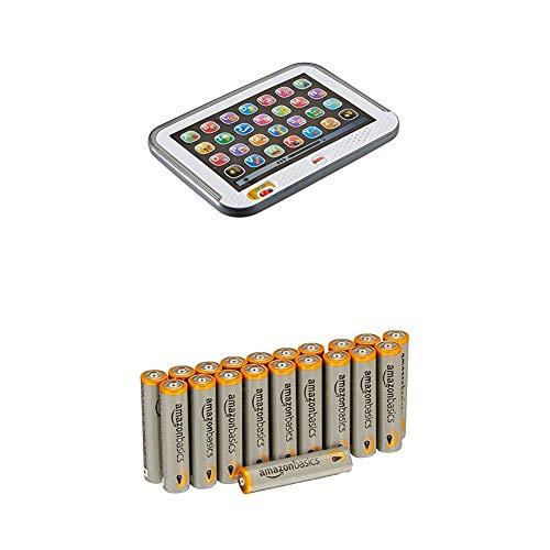 Fisher-Price CDG57 Lernspaß Tablet Lernspielzeug mit mitwachsenden Spielstufen grau, ab 12 Monaten deutschsprachig mit AmazonBasics Batterien