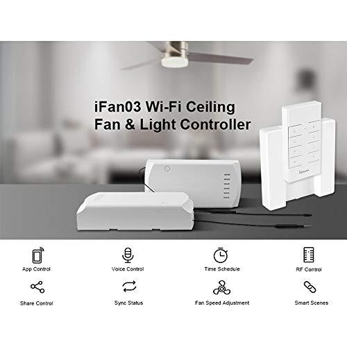 OWSOO SONOFF IFan03 WiFi Smart Ceiling Fan Light Controller Ceiling Fan Controller Smart Switch Controller RF/APP Remote Control ON/Off Control Fan Alexa G-Home/Nest IFTTT, with RM433