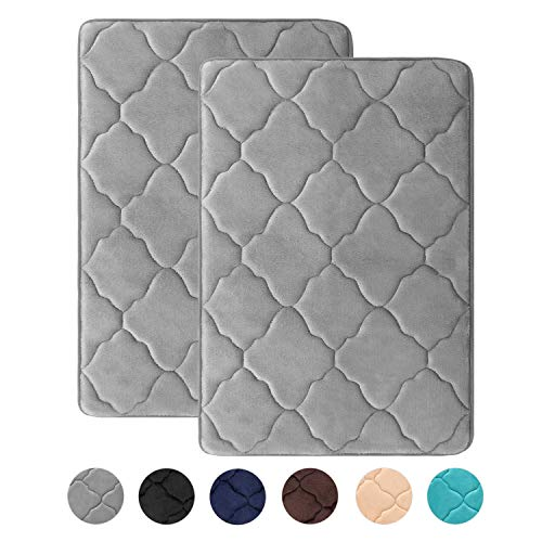 HAOCOO Memory Foam Bath Mat 2 Pack Set 17x26 inch Thick Non Slip Water Absorbent Bathroom Rugs Super Soft Velvet Machine Washable Dry Fast Bath Floor Rug for Shower Tub, Gray