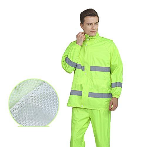 Abrigos Impermeables Impermeable Reflectante Pantalones de Lluvia Chaqueta de Lluvia Impermeable Poncho de Lluvia para Adultos-Estilo Verde 2018_SG