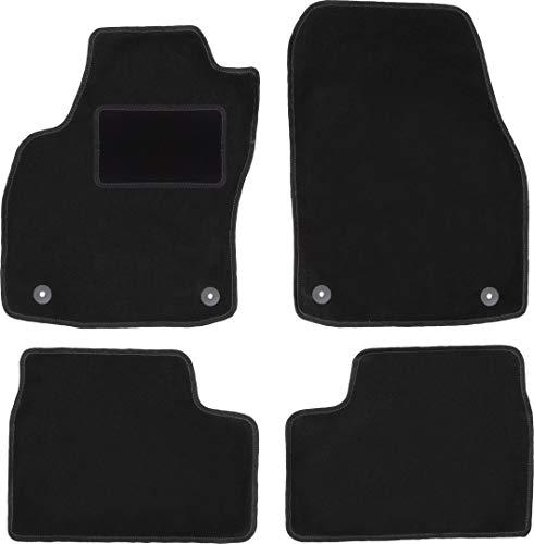 Wielganizator Carlux - Juego de alfombrillas de terciopelo para Opel Astra H Sedan, Hatchback, Combi, TwinTop, Cabrio, Coupé (4 piezas), color negro