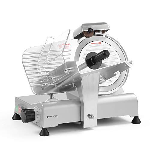 Revolution Gastro Schneidemaschine Elektrisch | Durchmesser 190 mm | Leistung 120 W | Profi Allesschneider mit einstellbare Schnittstärke 0-15mm | Ideal für Kindergartenkantinen & Krankenhausküchen