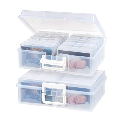 """IRIS USA 4"""" x 6"""" Storage-16 Inner Keeper Organizer Cases Storage Containers Box for Photos, Clear-XL (2Pack), 2 Count"""