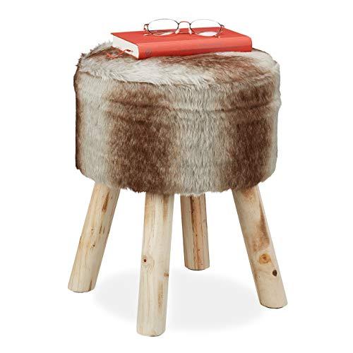 Relaxdays Fellhocker, Deko Hocker Kunstfell, Sitzhocker mit Holzbeinen, rund, rustikal, H x D: 42 x 33 cm, grau/braun