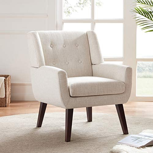 HUIMO Accent Chair Button Tufted Upholstered Sofa Chairs Comfy Linen Fabric Armchair for Bedroom product image