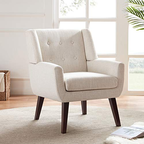 HUIMO Accent Chair, Button Tufted Upholstered Sofa Chairs, Comfy Linen Fabric Armchair for Bedroom, Reading, Mid-Century Modern Living Room Chair (Beige)