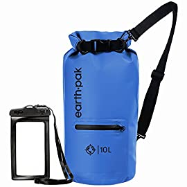 Earth Pak- Waterproof Dry Bag with Front Zippered Pocket Keeps Gear Dry for Kayaking, Beach, Rafting, Boating, Hiking, Camping and Fishing with Waterproof Phone Case 11 ALL-WEATHER PROTECTION: Constructed from heavy duty 500D PVC for high performance, durability, and protection. All seams are thermowelded shut to provide a watertight seal to ensure your gear stays protected from all elements! EASY ACCESS FRONT POCKET: The outer splash-proof zippered pocket makes it easy to grab your smaller belongings without having to unroll the top main compartment. Perfect for storing keys, knives, lighters, sunglasses, wallets, or other personal items you need to grab quickly on the go! SIZING & STRAPS: Our waterproof bags come in 4 convenient sizes (10L, 20L, 30L, 40L). 10L & 20L dry bags come with a single shoulder strap that is adjustable and can extend up to 36 inches. 30L and 40L dry bags are equipped with backpack style shoulder straps that also come with a sternum strap for added stability.