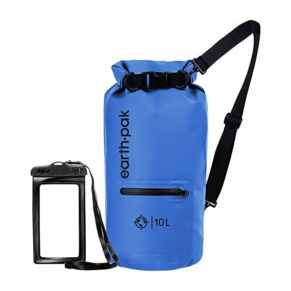 Earth Pak- Waterproof Dry Bag with Front Zippered Pocket Keeps Gear Dry for Kayaking, Beach, Rafting, Boating, Hiking, Camping and Fishing with Waterproof Phone Case 1 ALL-WEATHER PROTECTION: Constructed from heavy duty 500D PVC for high performance, durability, and protection. All seams are thermowelded shut to provide a watertight seal to ensure your gear stays protected from all elements! EASY ACCESS FRONT POCKET: The outer splash-proof zippered pocket makes it easy to grab your smaller belongings without having to unroll the top main compartment. Perfect for storing keys, knives, lighters, sunglasses, wallets, or other personal items you need to grab quickly on the go! SIZING & STRAPS: Our waterproof bags come in 4 convenient sizes (10L, 20L, 30L, 40L). 10L & 20L dry bags come with a single shoulder strap that is adjustable and can extend up to 36 inches. 30L and 40L dry bags are equipped with backpack style shoulder straps that also come with a sternum strap for added stability.