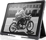 STM Bags Dux Plus Case Folio Schutzhülle für Apple 12, 9' iPad Pro (2017) - Schwarz/Transparent [Militär Standard i Apple Stylus Fach i Wasserabweisend i Standfunktion i Wake/Sleep]
