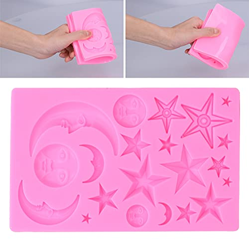 Bolo, durável em formato de estrela e chocolate antiaderente de silicone para padaria doméstica(pink)