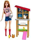 Barbie Métiers coffret poupée Fermière Rousse avec poulailler, 3Poules, 2Poussins et accessoires, jouet pour enfant, FXP15