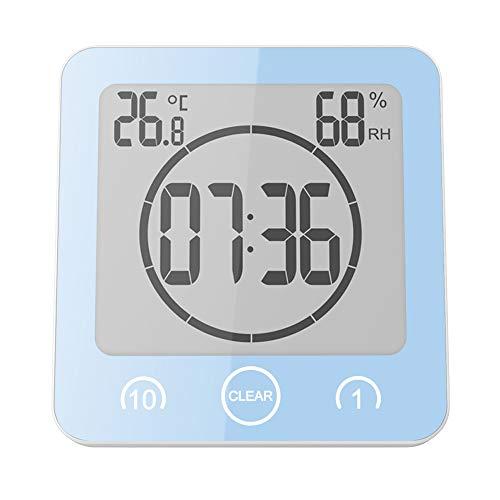 DEBEME Reloj de Baño, Reloj de Ducha Digital, Alarma, Control Táctil a Prueba de Agua, Pantalla LCD Grande, Formato de 12 24 Horas, Temperatura °C   °F, Temporizador Cuenta Regresiva