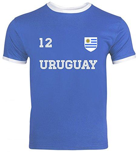 Wappen Fußball WM Fanfest Gruppen Herren Männer Ringer Trikot T-Shirt Trikot Uruguay, Größe: XL,Royal Blue/White